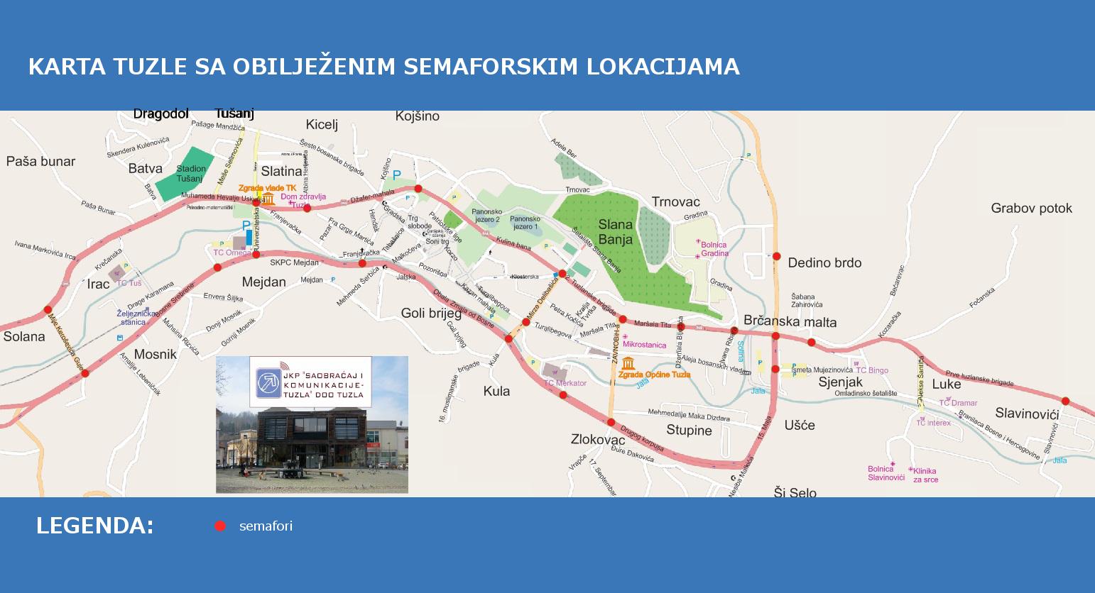 Mapa Grada Tuzle Jkp Saobracaj I Komunikacije Tuzla D O O Tuzla
